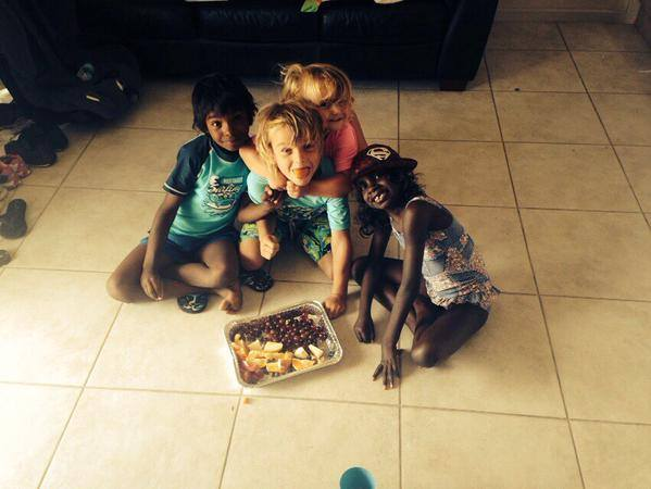 Kylie's kids, niece and nephew enjoying a healthly snack in Alice Springs